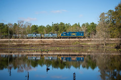 Reflections (ajketh) Tags: csx csxt emd gp383 2044 rebuild 80tonner ge general electric eastover wye subdision wedgefield sc south carolina pond reflection usaf united states air force 1644 1671 train railroad special