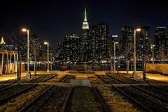Tracking the Empire (NYRBlue94) Tags: park county plaza new york city nyc newyork building skyline night river island evening spring dock long ship state walk manhattan tracks rail east queens hunterspoint empire lirr tracking gantry