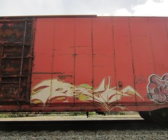 RECKA (YardJock) Tags: railroad art graffiti spraypaint boxcar piece burner freighttrain rollingstock moniker paintedsteel