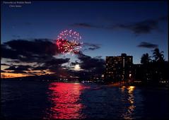 044 Fireworks on Waikiki Beach (Chrisjam2009) Tags: sunset usa holiday hawaii waikiki fireworks chrisjames canon60d