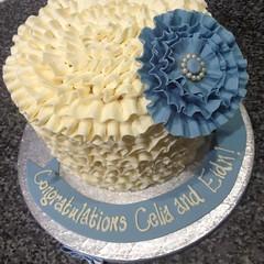 Blue Ruffle Flower Cake