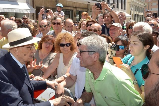 Il Presidente Giorgio Napolitano al suo arrivo a Monfalcone