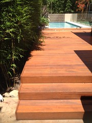 Timber deck poolside
