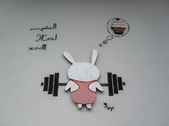 Fitness Bunny (yatsuk) Tags: bunny bench sketch crossstitch embroidery cupcake draw press fitness barbell