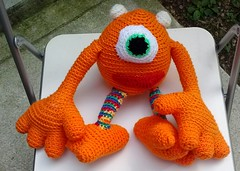Eudora Gray (The Crochet Crowd) Tags: mike toy crochet mikey cal amigurumi redheart monstersinc crochetalong crochetpattern staceytrock freecrochetpattern thecrochetcrowd michaelsellick mysterycrochetchallenge whosinyourcloset monstersuniversitycrochetpattern