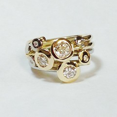 Yellow & White Gold Diamond Circles style ring