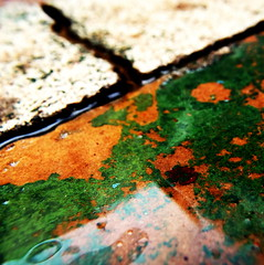 a conrete life line (Star, LaikazEyes: zazzle.com) Tags: red abstract green yellow square peeling paint bubbles line crack textures spots layers seam liquid maro dsc0486 laikazeyes macromanic