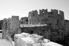 Kos 2014 (Joey Mitchell 18) Tags: blackandwhite tower castle wall landscape island greek grey ancient bricks kos greece grayscale sunnyday greyscale kostowncastle