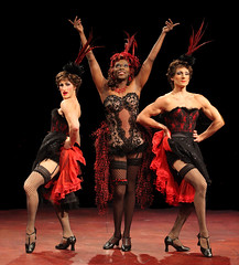 (L to R) Adam Lendermon (Chantal), Alan Mingo, Jr. (Albin) and Brian Steven Shaw (Angelique) in La Cage aux Folles, produced by Music Circus at the Wells Fargo Pavilion August 19-24, 2014. Photos by Charr Crail.
