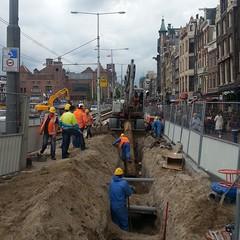 open Damrak (milov) Tags: amsterdam phonecam square workers construction cropped dig damrak tweetme fbme instagram samsunggalaxys3