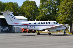 """Poyston01"" G-FLYW Beech 200 KingAir (Wings18) Tags: trees sunshine nikon aircraft beechcraft pembrokeshire turboprop haverfordwest beechkingair beech200 egfe gflyw"
