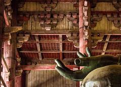 Vairocana Fingers (campra) Tags: roof japan bronze temple hand finger buddha buddhist ceiling nara todaiji giantbuddha daibutsuden vairocana