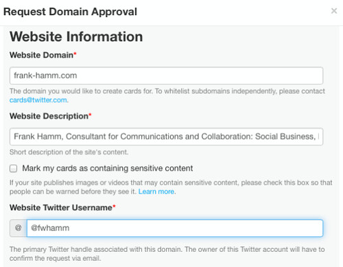 Twitter Card Validation & Approval