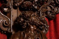 Poperinge, West-Vlaanderen, Sint-Bertinuskerk, confessional, detail (groenling) Tags: wood face saint gesicht belgium belgi sint carving peter westvlaanderen be tear confessional petrus poperinge hout woodcarving flanders heilige biechtstoel traan houtsnijwerk sintbertinuskerk snijwerk