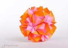 Origami Sonobe (Maria Sinayskaya) Tags: origami folded 10010 modularorigami kusudama sonobe mariasinayskaya  rectangle12 kamipaperduocolorcolor 15cmdoublesided daiyoshiko