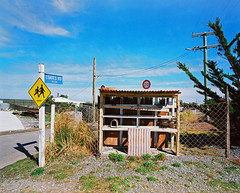 Coates Rd (@fotodudenz) Tags: coates road rd birdlings flat canterbury christchurch new zealand mamiya7 film rangefinder medium format super wide angle 43mm agfa ultra 50 letterboxes blue sky signs