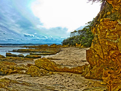 Little beach (elphweb) Tags: australia nsw seaside overcast cloudy rocks rocky rockformation fhdr falsehdr sea ocean water beach sand