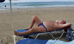 Sunbathing San Stephanos (pj's memories) Tags: beach brief speedos seaside kiniki corfu sanstephanos tanthru sunbathing sunlounger