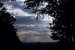 Schne Aussicht (Sedna 90377) Tags: photography nature forest outdoor hike woods sky clouds trees sun sunrays city smog