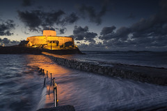 Blue Hour Fort Grey (scott.hammond34) Tags: landscape seascape bluehour dusk fortgrey guernsey channelislands waves hightide water movement texture clouds contrast walkway cloud sky submerged outdoor coastal