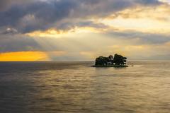 sunset 4081 (junjiaoyama) Tags: japan sunset sky light sun sunshine rays beams cloud weather landscape golden contrast colour bright lake island
