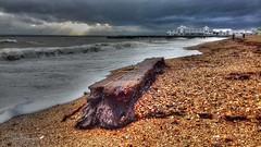 Stormy beach (Rob_Pennycook) Tags: southsea beach southseapier stormy driftwood photomatix cameraphone samsungj3
