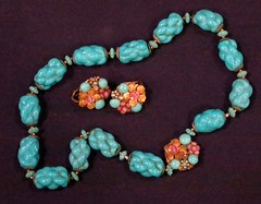 JEWELRY:  Miriam Haskell vintage necklace and earrings.