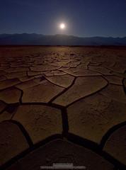 Moonlight Puzzle (michael ryan photography) Tags: deathvalley deathvalleynationalpark mudcracks cracks california moon moonset moonlight midnight nightsky michaelryanphotography