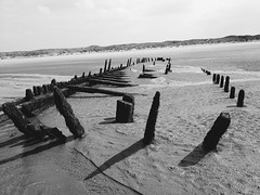Shipwreck at ainsdale beach near southport uk (davidcritchley) Tags: northwest uk formby ainsdale southport beach bw blackandwhite shipwreck