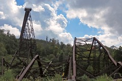 Amongst the ruins (Lisa Meadville) Tags: kinzua kinzuabridgestatepark pa ruins tornado bridge walkway railroad tressle viaduct dizzy towers twisted carnage violent hike gorge train