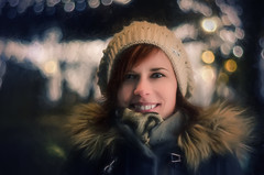 Winter night (Psztor Andrs) Tags: girl women christmass night bokeh 50mm fineart painterly mood happiness smile beautiful winter cold red hair calf coat blue eyes dslr nikon hungary andras pasztor photography