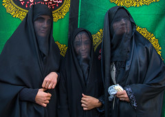 Portrait of iranian shiite muslim women with their faces hidden by a veil mourning imam hussein on tasua during the chehel manbar ceremony one day before ashura, Lorestan province, Khorramabad, Iran (Eric Lafforgue) Tags: 3people adultsonly ashura ceremony chador chehelmanbar clothing colorimage covered hidden horizontal hussain imamhussein iran islam khorramabad lookingatcamera memorialevent middleeast mourner mourning muharram muslim mysterious mystery niqab outdoors people persia religion religious ritual shia shiism shiite sugar tasoua tasua threepeople veil veiled waistup women womenonly lorestanprovince ir