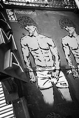 image (Kathi Huidobro) Tags: london graffiti urban bw endless endlessartist streetart urbanart brandwars stencilart calvinklein underwear eastlondon shoreditch soldier blackwhite streetphotography