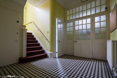 Chequered. (5PR1NK5 Photography  Off The Beaten Track Urban) Tags: abandoned home house hospital admin epileptic asylum mental care building entrance hall lobby chequred tiles floor disused derelict ue urbex urban exploration explore forgotten windows stairs staircase pattern canon 5pr1nk5 photography