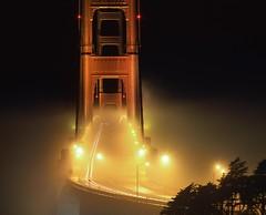 No Two Fogs... (RZ68) Tags: golden gate bridge fog foggy night presidio san francisco south vista trees towers rz67 velvia provia e100 telephoto dark light yellow amber cars trails long lens