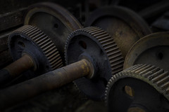 Old train gears - Baltimore (crabsandbeer (Kevin Moore)) Tags: decay family museum roadside street streetcar train industrial abandoned railroad rust gears gear baltimore stilllife dark