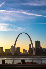 St Louis Skyline (adamopal) Tags: canon canon5d canon5dmkiii canon5dmarkiii stlouisskyline downtownstlouisskyline downtownstlouis skyline visitstlouis clouds blue yellow white