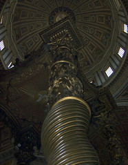 Bernini, Baldacchino, view up column