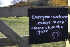 No Sheep Picnic Area (Becca Swift) Tags: sign fence walking manchester chalk walks picnic sheep sony reservoir daysout lightroom notallowed dovestone sonydslr