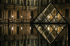 Louvre Mini Pyramid R Paris (Kobi W.) Tags: ocean park street new old city uk trip travel family flowers autumn trees winter light sunset red sea summer vacation portrait england sky people urban bw food sun white lake holiday snow chicago black paris france color berlin green london art fall love beach nature water car birds animals bike yellow rock architecture kids night clouds canon river garden landscape fun photography scotland photo spring europe day photos live blackandwhiteblue