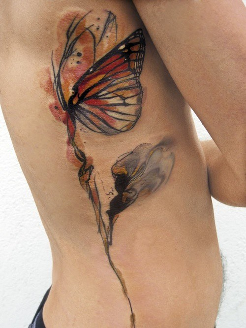 e725ea51da164 Red Black Gorgeous Butterfly Tattoos On Rib Side #095 (tattoos_addict)  Tags: red