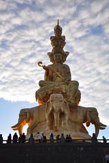Samantabhadra Statue, Mt Emei (_Andrew_MacDonald_) Tags: morning portrait sunshine statue clouds stairs sunrise early nikon mt july hike shan sichuan province 18105 2014 emei d90 samantabhadra