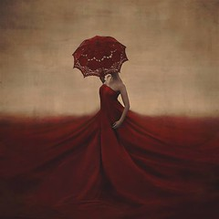 the creation of blood and bones (brookeshaden) Tags: red sky selfportrait clouds umbrella parasol beforeandafter behindthescenes selfportraiture brolly fineartphotography surrealphotography conceptualphotography backstagephotos brookeshaden whimsicalphotography
