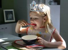 A Princess Eating Porridge (late2lense) Tags: tiara beautiful princess gorgeous spoon bowl littlegirl lovely porridge