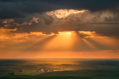 A Storm Clears - Steptoe Butte, Washington (Jim Patterson Photography) Tags: statepark sunset storm green rural landscape washington spring farming rustic pullman americana tradition agriculture pastoral eastern rollinghills colfax agricultural palouse beamsoflight steptoebutte jimpattersonphotography jimpattersonphotographycom seatosummitworkshops seatosummitworkshopscom
