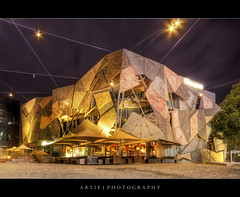 Federation Square, Melbourne, Victoria, Australia :: HDR (:: Artie | Photography ::) Tags: city building station architecture photoshop canon square lens rebel lights design sandstone cityscape nightlights geometry sigma australia federationsquare melbourne wideangle victoria structure 1020mm angular hdr flinders federation artie cs3 australiancentreforthemovingimage 3xp photomatix tonemapping tonemap xti 400d sbsheadquarters