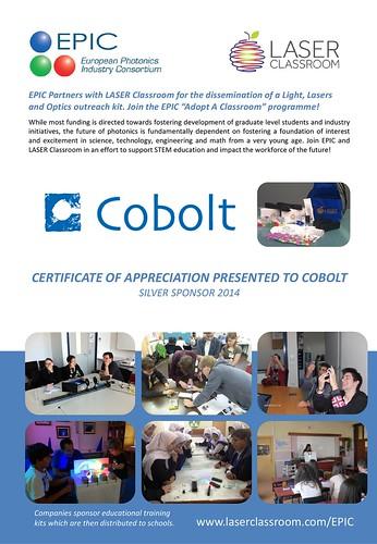 Appreciation Certificate EPIC Adopt A Classroom SAMPLE