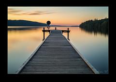 Hagudden in sunset - 31 aug (AndersWx) Tags: sunset lake water yellow mirror jetty le brygga sjö spegel hagudden fryken långexponering canon5dmarkiii leebigstopper sigma50mm14art lee6ndgradsoft