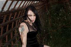 Dark Iron Tunnel (nathansmithphoto) Tags: woman tattoo dark model rust bars iron cage holly rebar blackdress