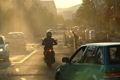 Traffic Construction (athos[hun]) Tags: city cars sunshine lights construction traffic budapest biker dust bikers